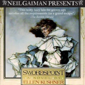 Reader: Ellen Kushner and Full Cast Extras: An introduction by Neil Gaiman, which you can listen to below Short Review: Character-driven sweeping tale of court intrigue, thieves, and swordsmen read beautifully by many voices and accompanied by music and sound effects. Witty and funny, a great tale.